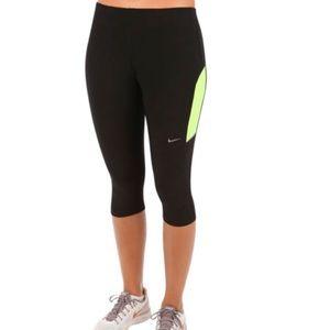 Women's Nike Running Black and Yellow Capris, S